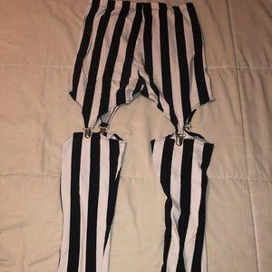 Black and White Striped Garter Leggings
